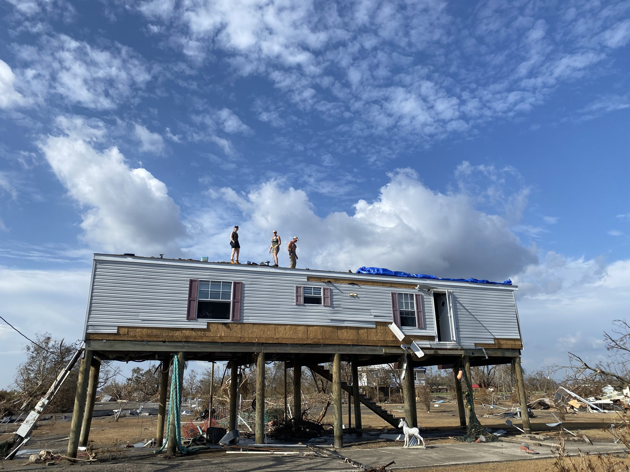 repairing roofs after hurricane laura